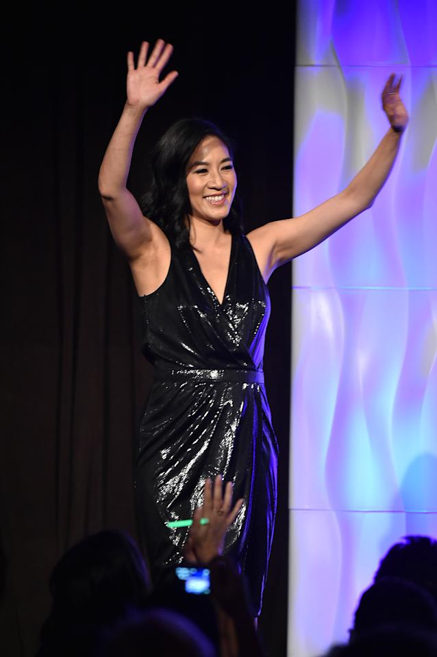 <p>Figure Skater Michelle Kwan walks onstage at the 37th Annual Salute To Women In Sports Gala at Cipriani Wall Street on October 19, 2016 in New York City. (Photo by Theo Wargo/Getty Images for Women's Sports Foundation ) </p>