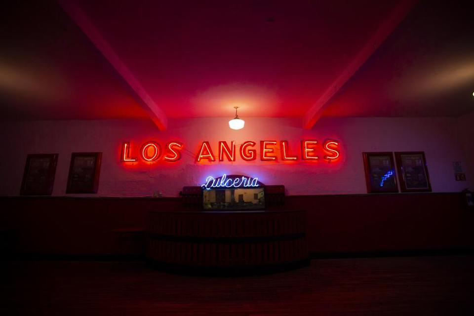 "Neon sign at Salón Los Ángeles, during an event to raise money and keep open the dance hall known as ""The Cathedral of Mambo"". September 2020."