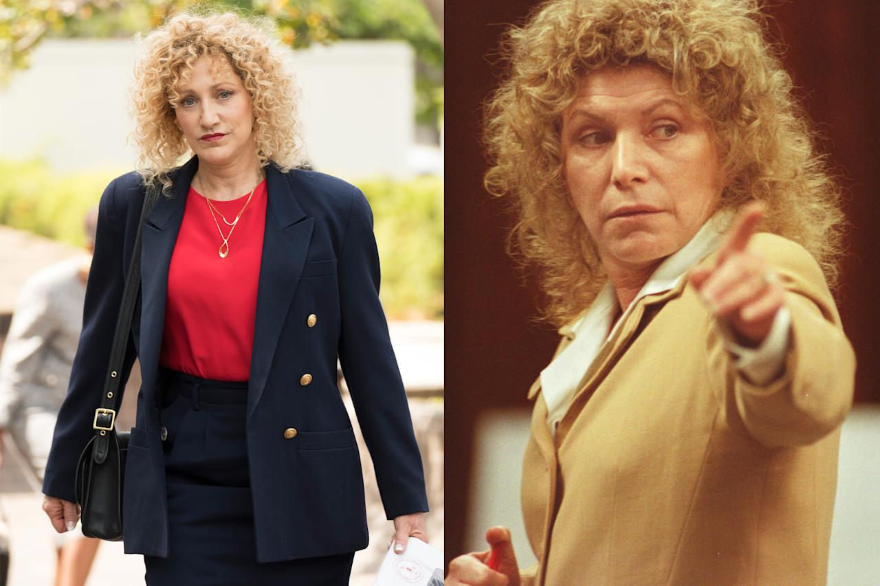 <p>The defense attorney who represented Lyle and Erik cut a striking figure at the trial, with her passionate speeches and flamboyant behavior. Emmy winner Falco looks picture perfect with that corkscrew curly blond wig.<br /><br />(Photos: Justin Lubin/NBC, Ricardo De Aratanha/AP) </p>