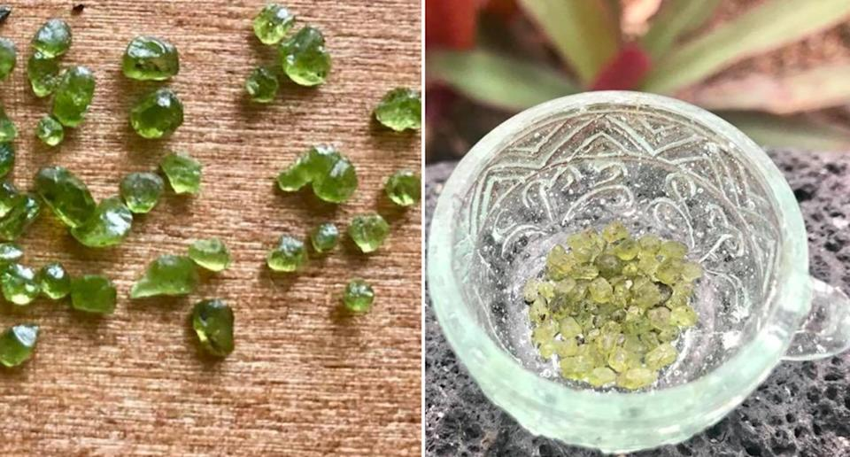 Residents in Hawaii have reported green gems falling from the sky. A m<span>eteorologist shared images online saying they are tiny pieces of</span><span> olivine. </span>Source: @ErinJordan_WX/ Twitter