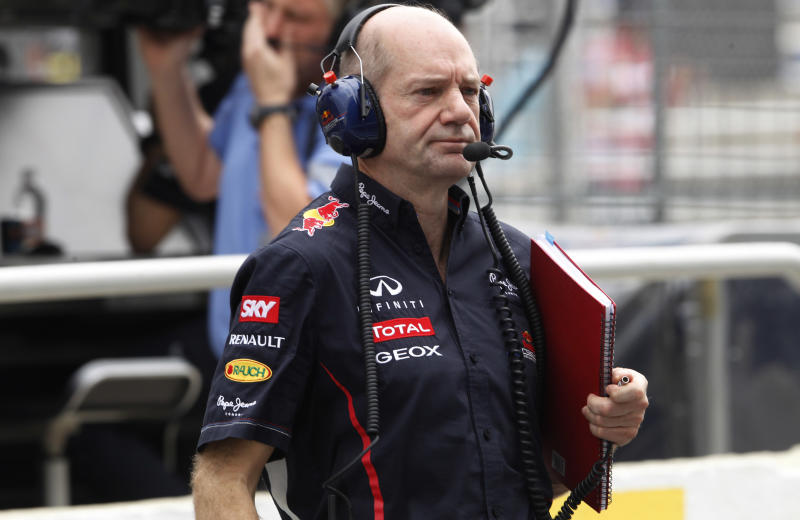 Red Bull technical chief Adrian Newey at his team's pit during a free practice at the Interlagos race track in Sao Paulo, Brazil, Saturday, Nov. 24, 2012.(AP Photo/Silvia Izquierdo)