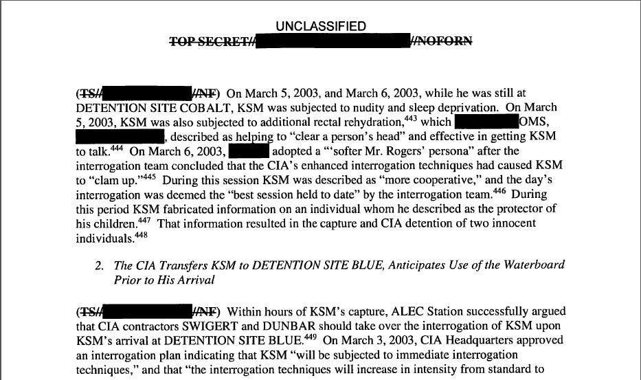 """A page from the CIA torture report released by Senate Intelligence Committee Chair Sen. Dianne Feinstein D-Calif., Dec. 9, 2014. U.S. Senate investigators delivered a damning indictment of CIA interrogations, accusing the spy agency of inflicting suffering on prisoners beyond its legal limits and peddling unsubstantiated stories that the harsh questioning saved American lives. Page 83 of the report refers to rectal hydration as a means to """"clear a person's head."""""""