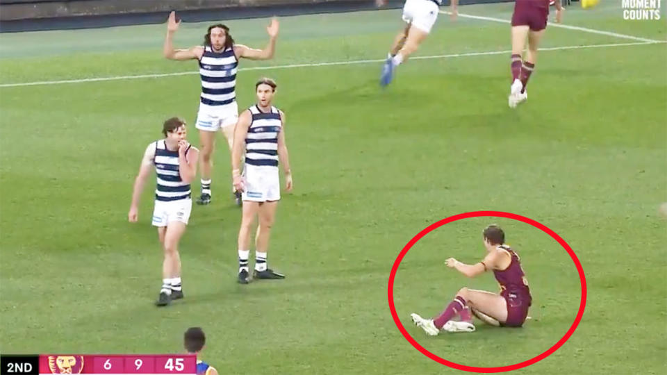Joe Daniher, pictured here after being awarded a dubious free kick.