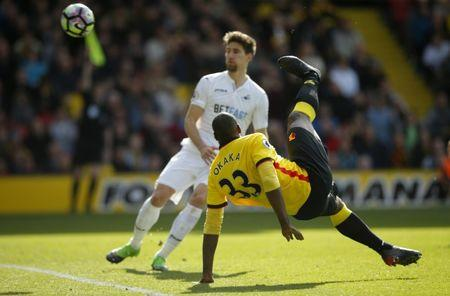 Watford's Stefano Okaka scores a goal that was disallowed