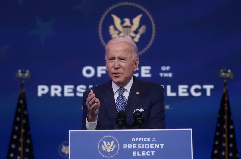 U.S. President-elect Joe Biden addresses the recent massive cyber attack against the U.S., in Wilmington