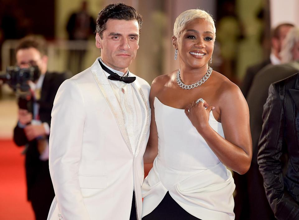 <p>Oscar Isaac and Tiffany Haddish attend the red carpet for the movie <em>The Card Counter</em> during the 78th Venice International Film Festival on Sept. 2.</p>