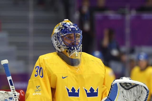 SOCHI, RUSSIA - FEBRUARY 23: Goalie Henrik Lundqvist #30 of Sweden warms up prior to the Men's Ice Hockey Gold Medal match against Canada on Day 16 of the 2014 Sochi Winter Olympics at Bolshoy Ice Dome on February 23, 2014 in Sochi, Russia. (Photo by Bruce Bennett/Getty Images)