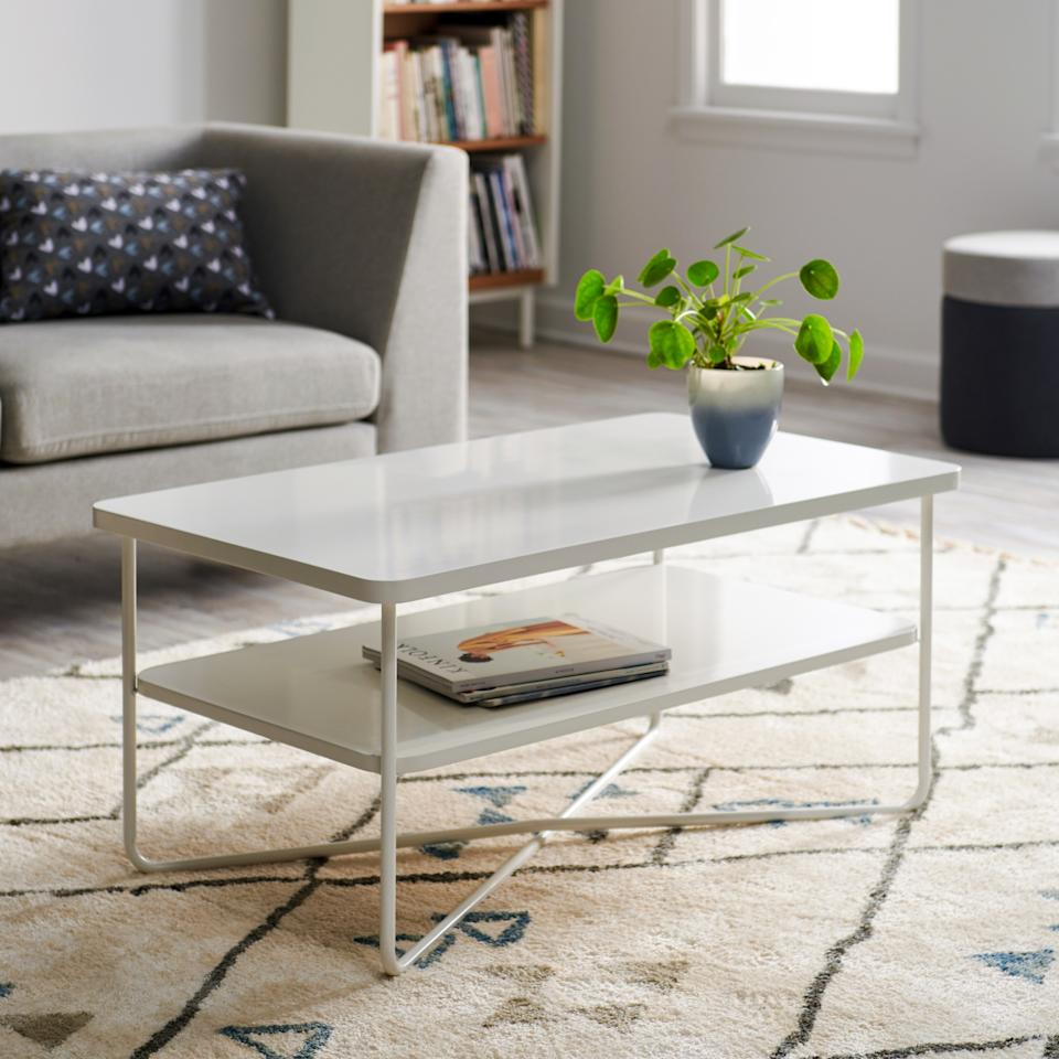 "<a rel=""nofollow"" href=""https://www.walmart.com/ip/MoDRN-Scandinavian-Soren-Metal-Base-Coffee-Table/497825753"" rel=""nofollow"">SHOP NOW</a>: MoDRN Scandinavian Soren Metal Base Coffee Table in White, $349"