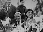 <p>Jackie and her second husband Aristotle Onassis celebrate their first wedding anniversary at the Neraida nightclub in Greece. </p>