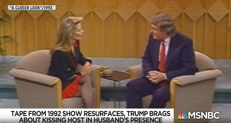 "Donald Trump appears on NBC's ""A Closer Look"" and talks about how he kissed host Faith Daniels without her consent in 1992. (Photo: NBC News)"