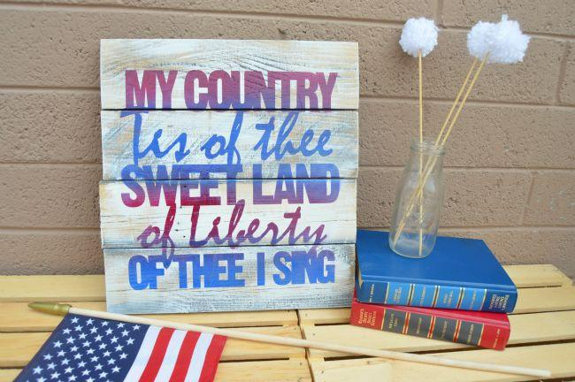 "<p>Add whatever patriotic phrase you like to this DIY painted wood project. Plus, you can keep this professional looking rustic decor up year-round. </p><p><em><a href=""https://www.anightowlblog.com/patriotic-pallet-art/"" target=""_blank"">Get the tutorial at A Night Owl Blog »</a></em></p>"