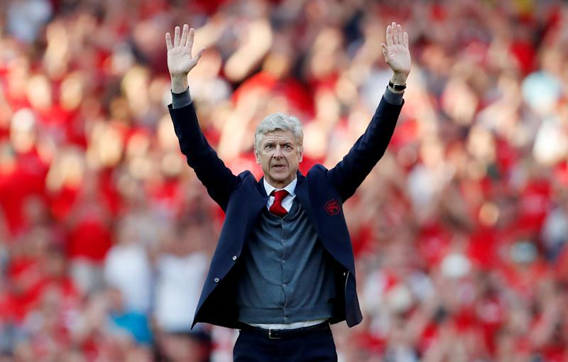 """Soccer Football - Premier League - Arsenal vs Burnley - Emirates Stadium, London, Britain - May 6, 2018 Arsenal manager Arsene Wenger waves to the fans after the match Action Images via Reuters/Matthew Childs EDITORIAL USE ONLY. No use with unauthorized audio, video, data, fixture lists, club/league logos or """"live"""" services. Online in-match use limited to 75 images, no video emulation. No use in betting, games or single club/league/player publications. Please contact your account representative for further details."""