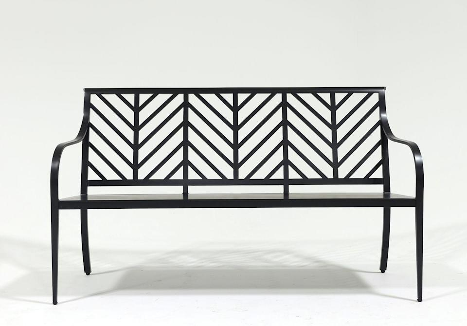 <p>This outdoor bench serves to make your garden, front porch, or back patio feel even more inviting and idyllic. We love the chic herringbone pattern. </p>