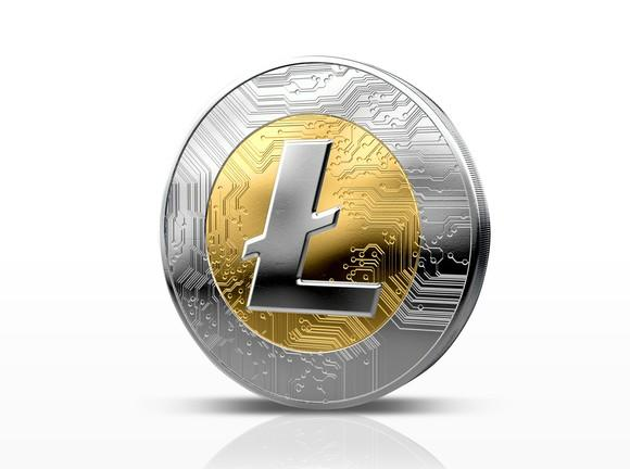 A physical silver and gold Litecoin.