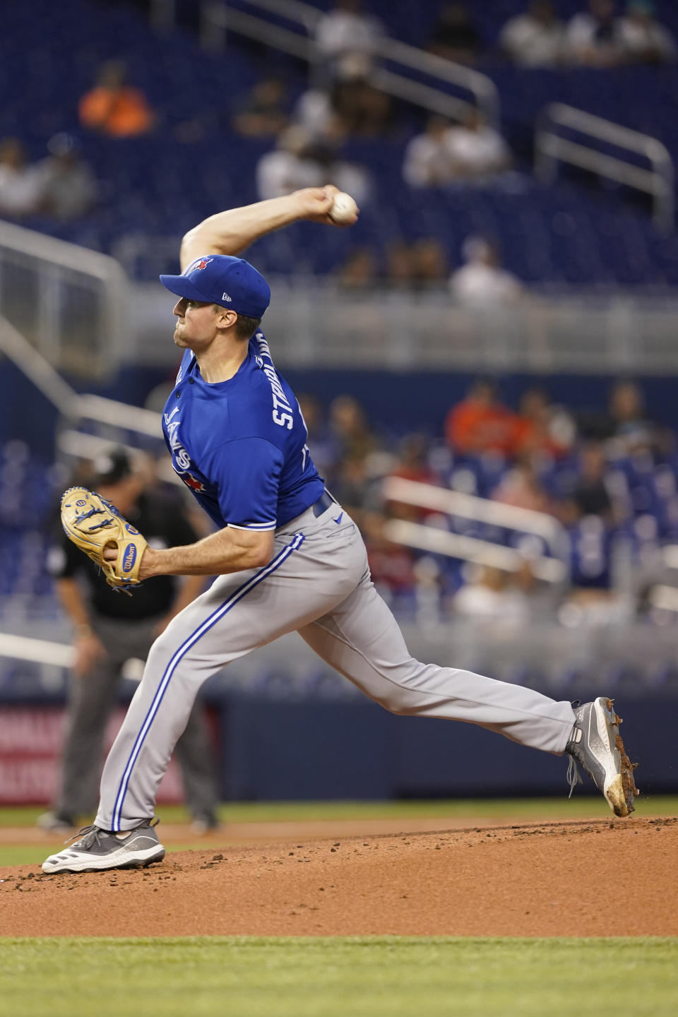 Toronto Blue Jays starting pitcher Ross Stripling throws during the first inning of a baseball game against the Miami Marlins, Tuesday, June 22, 2021, in Miami. (AP Photo/Marta Lavandier)