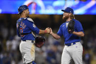Chicago Cubs relief pitcher Craig Kimbrel, right, celebrates with catcher Willson Contreras after the final out for a combined no-hitter after a baseball game against the Los Angeles Dodgers in Los Angeles, Thursday, June 24, 2021. The Cubs won 4-0. (AP Photo/Kelvin Kuo)