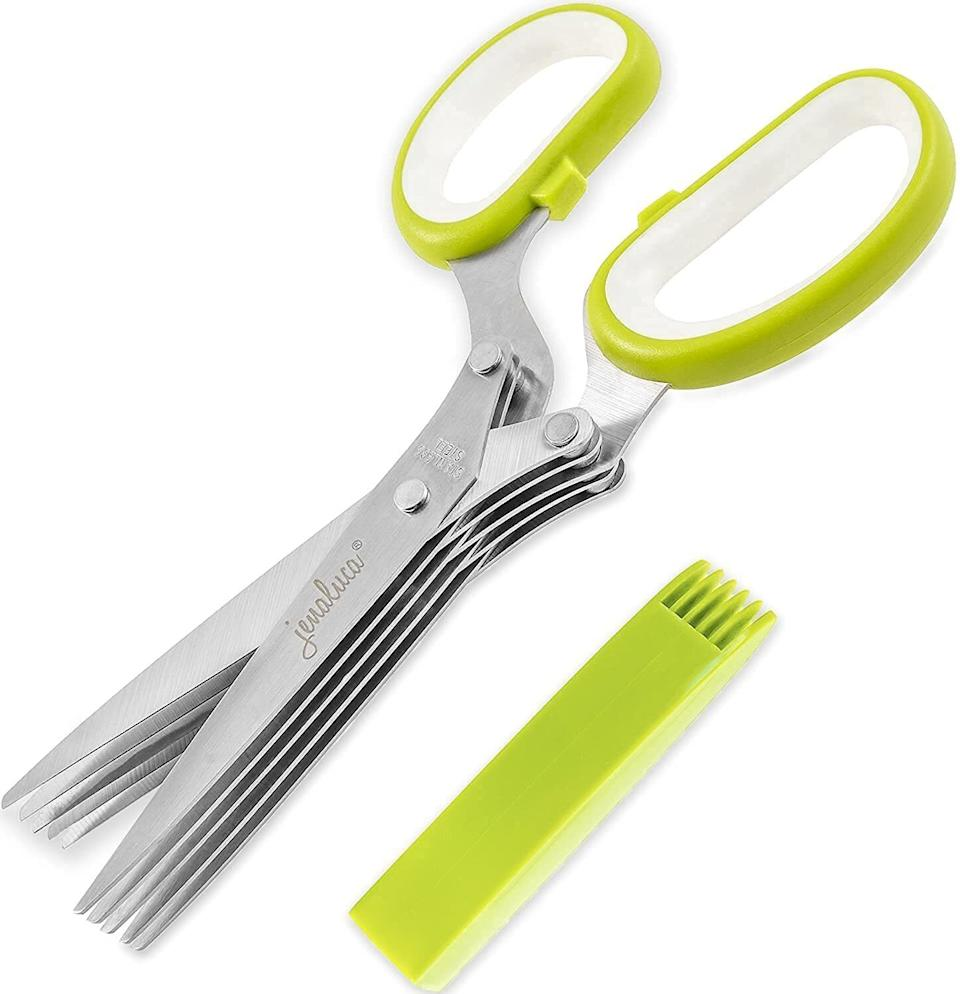 """Made with five blades, so you can have fresh herbs in all your salads and sprinkled on all your favorite dishes, with so little effort that you'll be whipping this out three times a day.<br /><br /><strong>Promising review:</strong>""""I like to grow herbs and use them in salads, soups, and many other recipes. I received these Jenaluca Herb Scissors as a birthday gift, and<strong>can't believe how fast and easy it is to cut up cilantro, basil, parsley, lovage, etc.</strong>My husband tried them today too for the first time while making guacamole, and found that slicing the cilantro went very quickly. The storage case-cleaner is very efficiently designed too.<strong>I ordered four of these sets to give as gifts</strong>."""" —<a href=""""https://www.amazon.com/gp/customer-reviews/R10RZ0EQ35FJH7?ASIN=B00LRKMK96&ie=UTF8&linkCode=ll2&tag=huffpost-bfsyndication-20&linkId=5161df80c7a17de3ed70e20a8121da75&language=en_US&ref_=as_li_ss_tl"""" target=""""_blank"""" rel=""""noopener noreferrer"""">Lucille P. Nawara</a><br /><br /><strong>Get it from Amazon for<a href=""""https://www.amazon.com/Jenaluca-Herb-Scissors-Blades-Cover/dp/B00LRKMK96?&linkCode=ll1&tag=huffpost-bfsyndication-20&linkId=a1234e7714df193729f44daa7e9bd4bf&language=en_US&ref_=as_li_ss_tl"""" target=""""_blank"""" rel=""""noopener noreferrer"""">$15.99</a>.</strong>"""