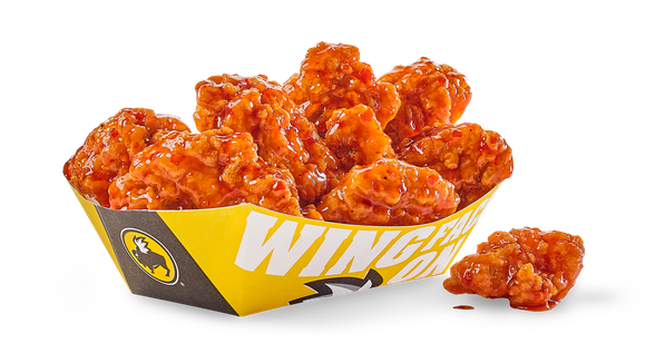Buffalo wings in a Buffalo Wild Wings container.