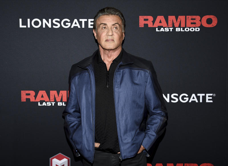 """Sylvester Stallone attends a special screening of """"Rambo: Last Blood"""" on Sept. 18, 2019. (Photo by Evan Agostini/Invision/AP)"""