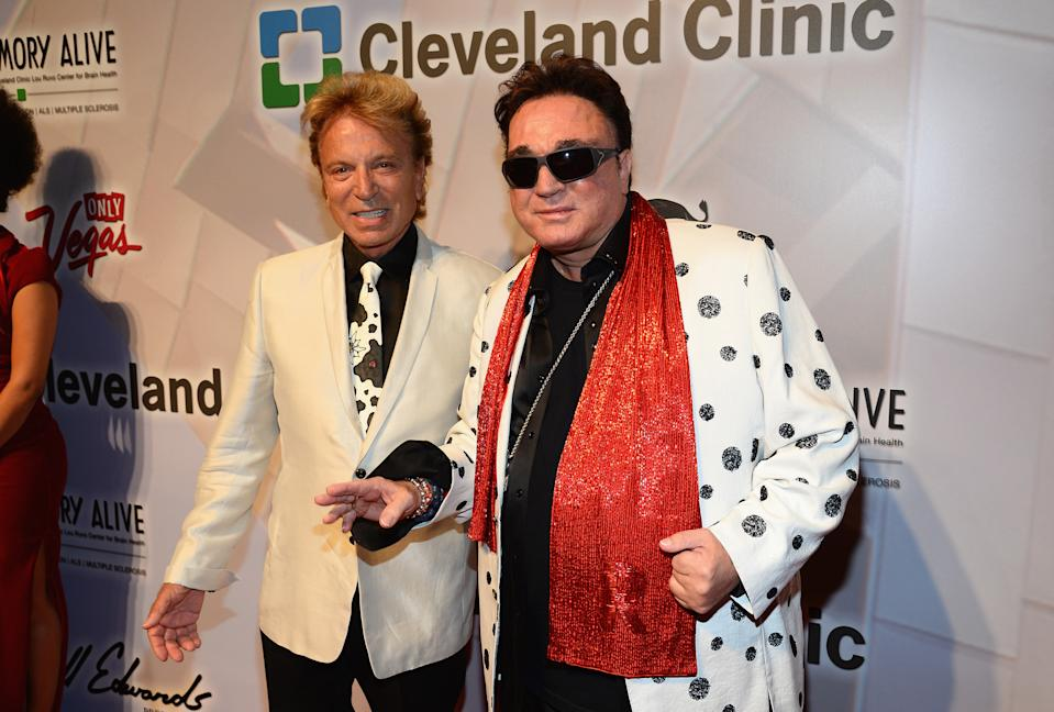 "Siegfried Fischbacher (L) and Roy Horn attend the 18th annual Keep Memory Alive ""Power of Love Gala"" benefit for the Cleveland Clinic Lou Ruvo Center for Brain Health. (Photo by Ethan Miller/Getty Images for Keep Memory Alive)"