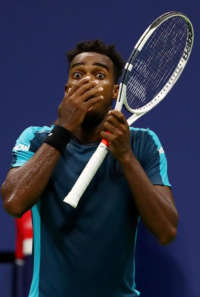 <p>Darian King of Barbados reacts against Alexander Zverev Jr. of Germany during their first round Men's Singles match on Day One of the 2017 US Open at the USTA Billie Jean King National Tennis Center on August 28, 2017 in the Flushing neighborhood of the Queens borough of New York City. (Photo by Al Bello/Getty Images) </p>