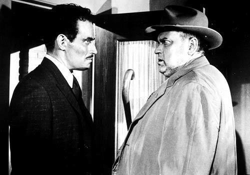 """Charlton Heston, left, as Mexican narcotics agent Ramon Miguel Vargas, with Orson Welles in 1958's """"Touch of Evil."""""""