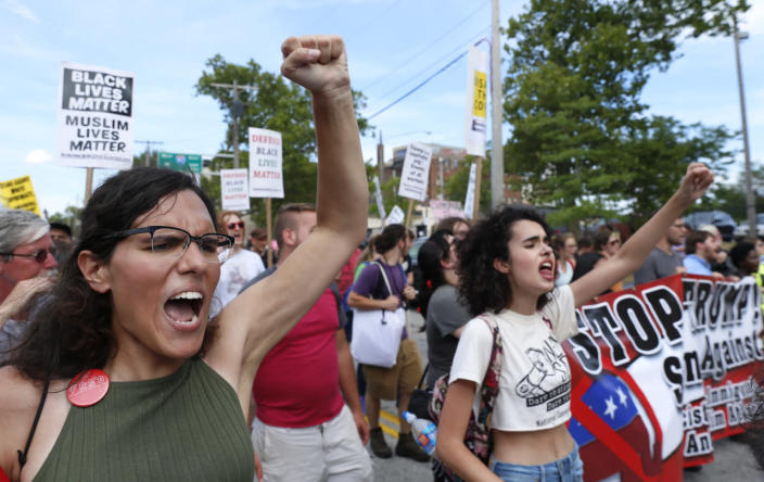 <p>Demonstrators chant slogans during a march by various groups, including Black Lives Matter and Shut Down Trump and the RNC, ahead of the Republican National Convention in Cleveland, Ohio. on July 17, 2016. (Photo: Lucas Jackson/Reuters)</p>