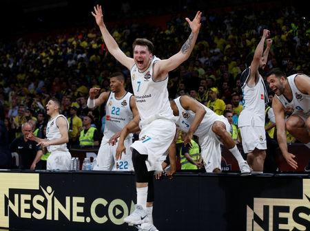 Basketball - Euroleague Final Four Final - Real Madrid vs Fenerbahce Dogus Istanbul - Stark Arena, Belgrade, Serbia - May 20, 2018 Real Madrid's Luka Doncic celebrates REUTERS/Alkis Konstantinidis