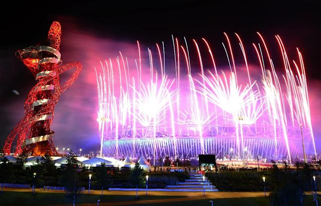 Fireworks light up the sky during the London Olympics opening ceremony in 2012 (AFP Photo/Martin Bureau)