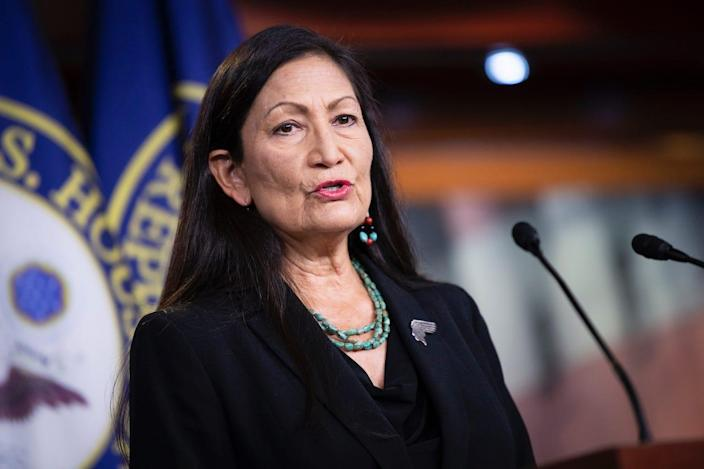Rep. Deb Haaland, D-N.M., speaks during a news conference on Capitol Hill in Washington on Wednesday, May 27, 2020.