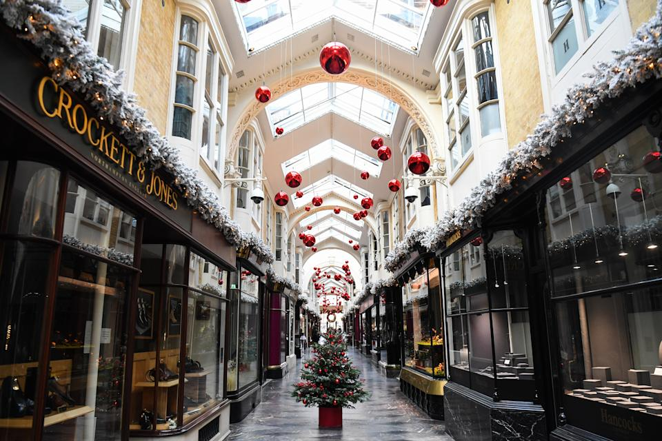 General view of a largely empty Burlington Arcade, in London, as most shops and businesses remain closed whilst England continues a four week national lockdown to curb the spread of coronavirus. (Photo by Kirsty O'Connor/PA Images via Getty Images)
