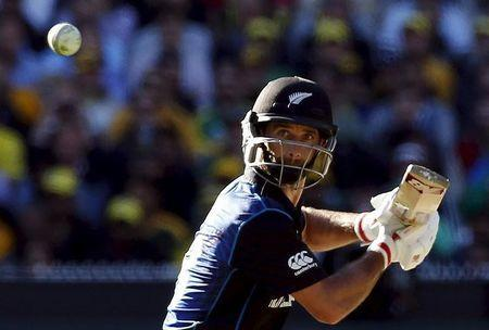 New Zealand's Grant Elliott hits a boundary during the Cricket World Cup final match against Australia at the Melbourne Cricket Ground (MCG) March 29, 2015. REUTERS/Brandon Malone