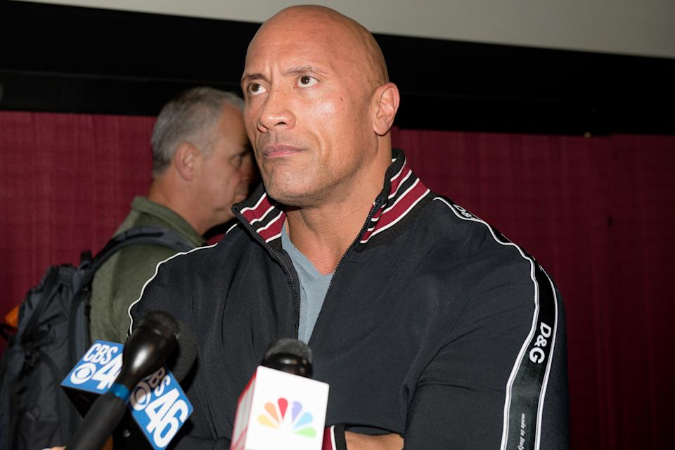 ATLANTA, GEORGIA – FEBRUARY 23: Dwayne Johnson makes a special appearance at a screening of 'Fighting With My Family' at Regal Cinemas Atlantic Station on February 23, 2019 in Atlanta, Georgia. (Photo by Marcus Ingram/Getty Images)