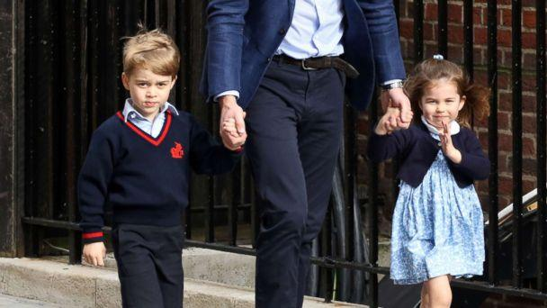 PHOTO: Prince George, Prince William and Princess Charlotte outside the Lindo Wing of St Mary's Hospital, April 23, 2018, in London. (Paul Marriott/Splash News)