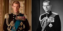 """<p>When it comes to playing Prince Philip, Matt Smith (of <em>Doctor Who</em> fame) can thank his stature: Both he and Queen Elizabeth's husband stand at a regal six feet tall. And while he has met Prince Harry twice in real life, Matt has yet to get the Duke of Edinburgh's opinion of his onscreen performance firsthand. Why? <a href=""""https://www.youtube.com/watch?v=dImW_wsTfH0"""" rel=""""nofollow noopener"""" target=""""_blank"""" data-ylk=""""slk:According"""" class=""""link rapid-noclick-resp"""">According</a> to Matt, it's because Prince Philip is """"too cool. He's too cool for school.""""</p>"""
