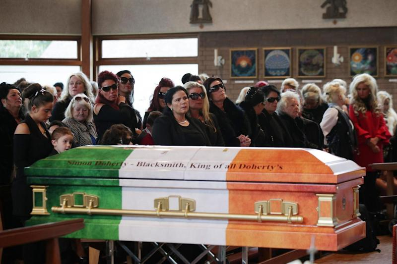 The coffin of Simon Doherty in Ashtead (PA)