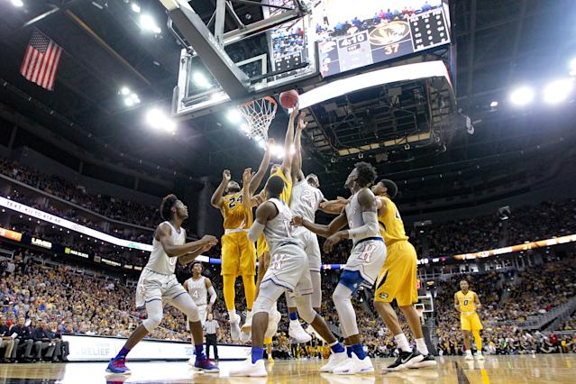 Kansas beat Missouri 93-87. (Getty Images)