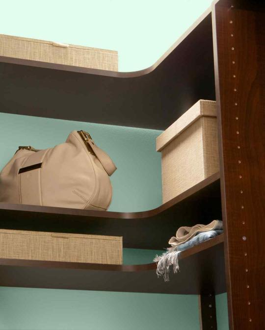 <p>You can turn closet corners into valuable storage space by installing custom wrap-around shelves.</p>