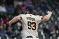 Milwaukee Brewers starting pitcher Brandon Woodruff throws during the first inning of a baseball game against the St. Louis Cardinals Wednesday, May 12, 2021, in Milwaukee. (AP Photo/Morry Gash)