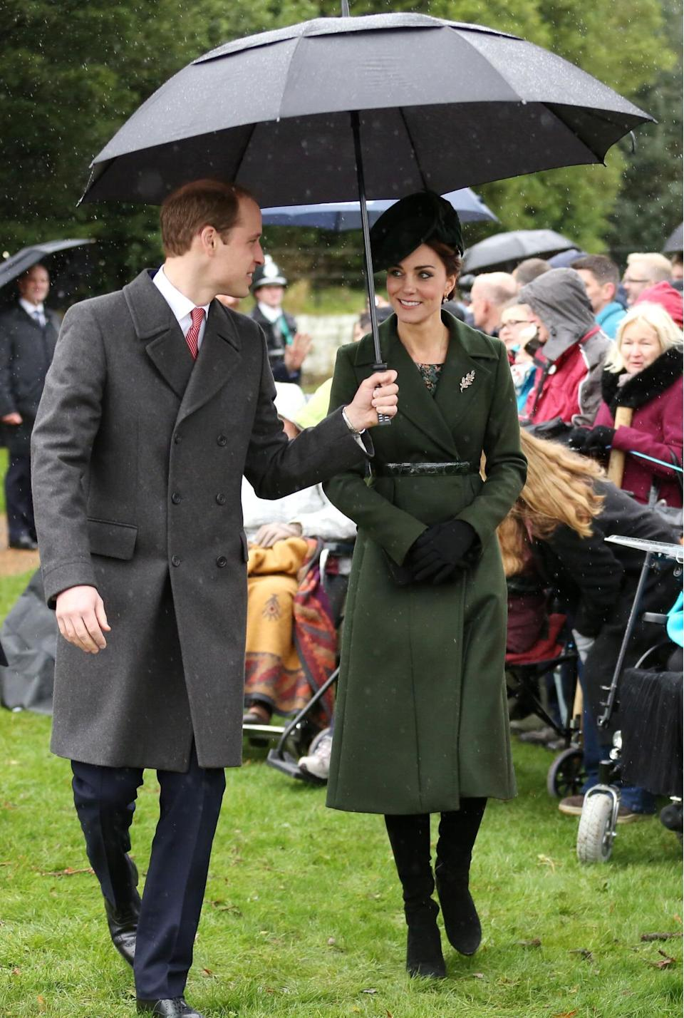 <p>For the Christmas Day service in Norfolk, Kate donned a dark green coat by Sportmax and matching elegant hat. Her suede heeled boots were by Aquatalia and her black clutch by Mulberry.</p><p><i>[Photo: PA]</i></p>