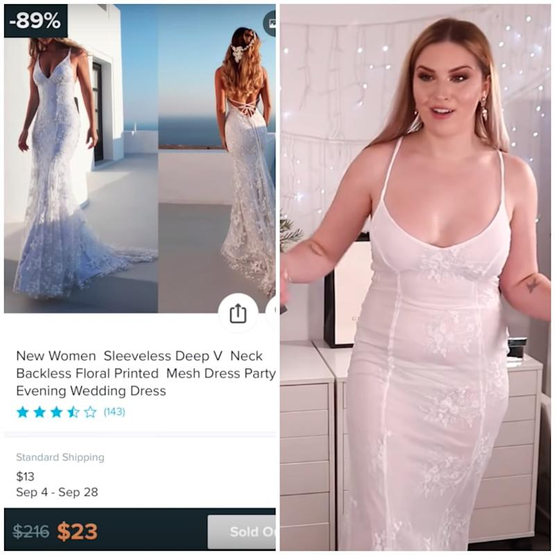 YouTuber Shannon Harris tries on budget wedding dresses from Wish.com