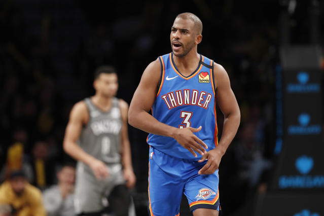 Oklahoma City Thunder guard Chris Paul (3) reacts after hitting a three-point shot during the second half of an NBA basketball game against the Brooklyn Nets, Tuesday, Jan. 7, 2020, in New York. The Thunder defeated the Nets 111-103 in overtime. (AP Photo/Kathy Willens)