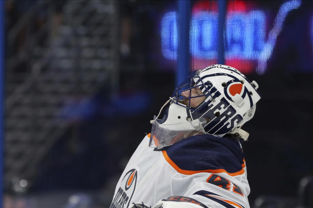 Edmonton Oilers goaltender Mike Smith reacts after giving up a goal to Tampa Bay Lightning's Pat Maroon during the second period of an NHL hockey game Thursday, Feb. 13, 2020, in Tampa, Fla. (AP Photo/Mike Carlson)