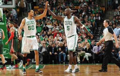 BOSTON, MA - APRIL 26: Ryan Hollins #50 and Kevin Garnett #5 of the Boston Celtics celebrate against the Milwaukee Bucks on April 26, 2012 at the TD Garden in Boston, Massachusetts. (Photo by Brian Babineau/NBAE via Getty Images)