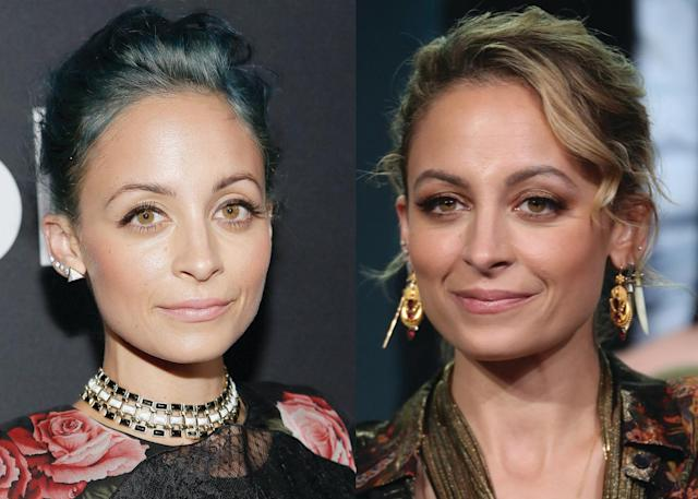 After experimenting with dark-green hair dye, Nicole Richie is now back to a natural-looking dirty blond. (Photo: Getty Images)