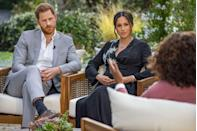 """<p>In March 2021, Prince Harry and Meghan shocked viewers with their candor during their sit-down interview with Oprah Winfrey. The royals opened up about everything from their mental health struggles to why they chose to step back from the royal family. Here, a still from the program. </p><p><a class=""""link rapid-noclick-resp"""" href=""""https://www.townandcountrymag.com/society/tradition/a35700493/meghan-markle-prince-harry-oprah-interview-biggest-revelations-quotes/"""" rel=""""nofollow noopener"""" target=""""_blank"""" data-ylk=""""slk:Read the most shocking revelations from the conversation."""">Read the most shocking revelations from the conversation.</a></p>"""