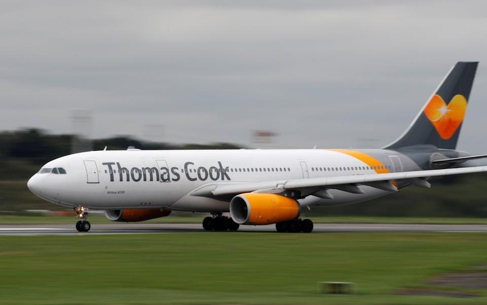 A Thomas Cook Airbus A330 aircraft prepares to take off from Manchester Airport in Manchester, Britain September 4, 2018. Photo: REUTERS/Phil Noble/File Photo