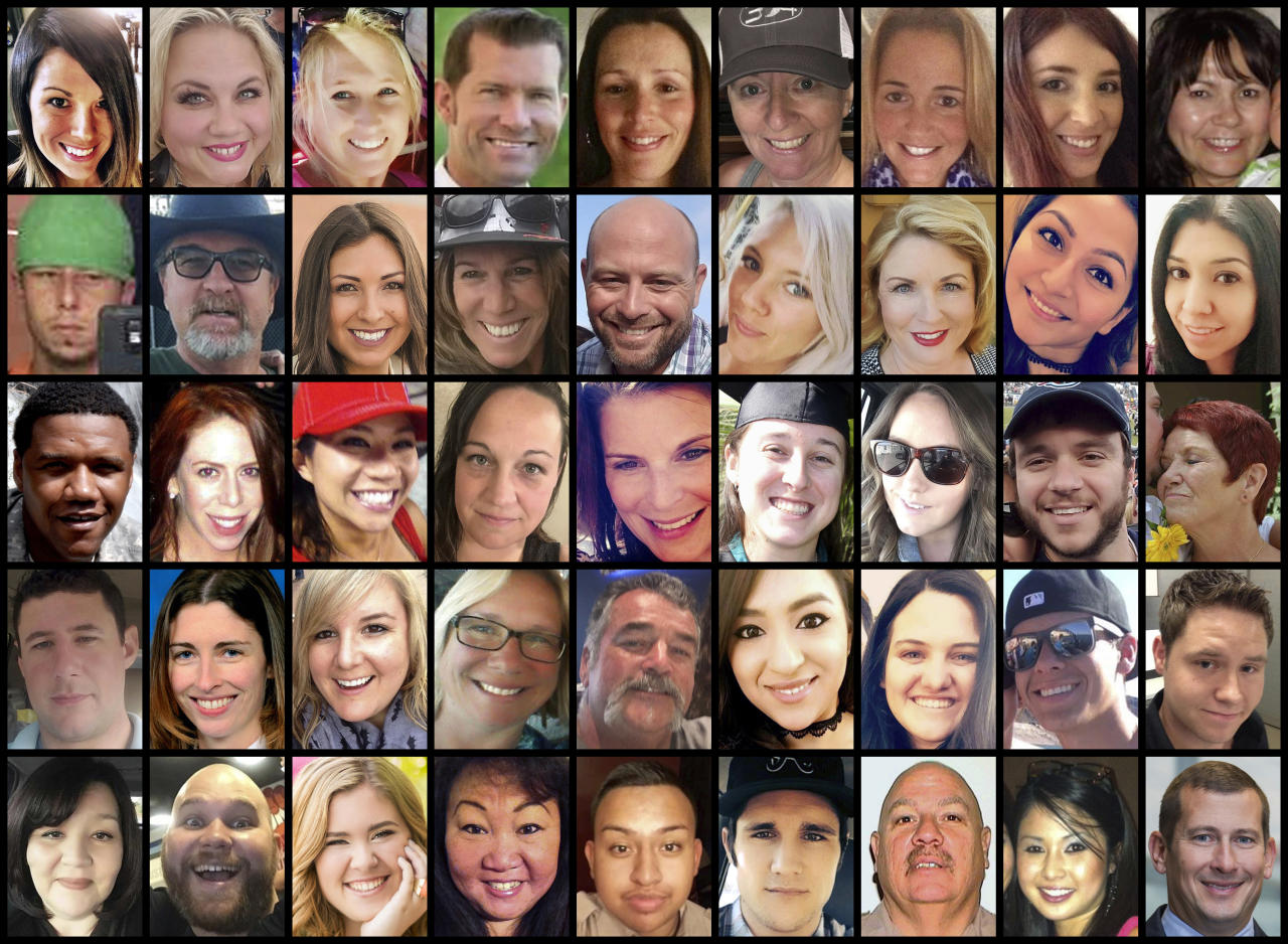 <p>This photo combination shows some of the victims of the mass shooting that occurred at a country music festival in Las Vegas on Sunday, Oct. 1, 2017. Top row from left are: Hannah Ahlers, Heather Warino Alvarado, Carrie Barnette, Steven Berger, Candice Bowers, Denise Burditus, Sandy Casey, Andrea Castilla and Denise Cohen. Second row from left are: Austin Davis, Tom Day Jr., Christiana Duarte, Stacee Etcheber, Brian Fraser, Keri Lynn Galvan, Dana Gardner, Angie Gomez and Rocio Guillen. Third row from left are: Charleston Hartfield, Jennifer Topaz Irvine, Nicol Kimura, Jessica Klymchuk, Rhonda LeRocque, Kelsey Meadows, Calla Medig, Sonny Melton and Pati Mestas. Fourth row from left are: Adrian Murfitt, Rachael Parker, Carrie Parsons, Lisa Patterson, John Phippen, Melissa Ramirez, Jordyn Rivera, Quinton Robbins and Cameron Robinson. Bottom row from left are: Lisa Romero-Muniz, Christopher Roybal, Bailey Schweitzer, Laura Shipp, Erick Silva, Brennan Stewart, Derrick Taylor, Michelle Vo and Bill Wolfe Jr. (AP Photo) </p>