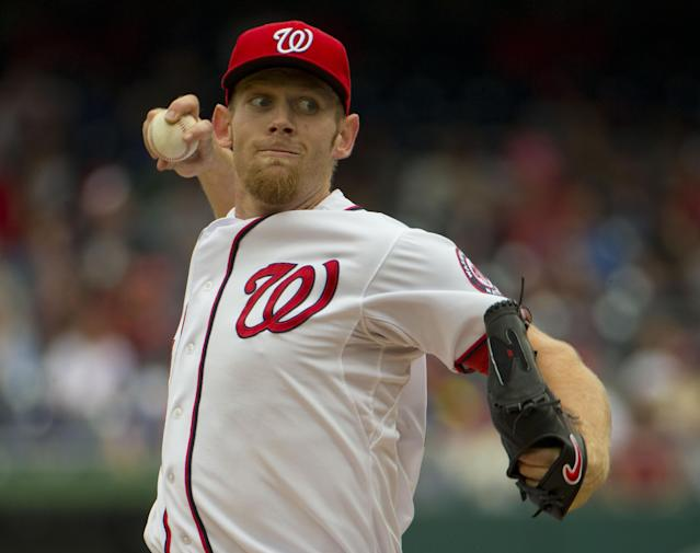 Washington Nationals starting pitcher Stephen Strasburg (37) throw against the Los Angeles Dodgers during the first inning of a baseball game, Wednesday, May 7, 2014 in Washington. Nationals won 3-2. (AP Photo/Pablo Martinez Monsivais)