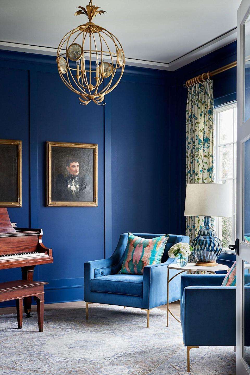 Benjamin Moore Downpour Blue 2063-20 Living Room Walls with Piano